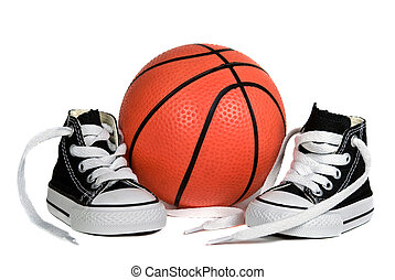 Basketball Shoes - Pair of sneakers with basketball isolated...