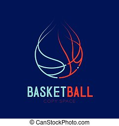 Basketball shooting fire logo icon outline stroke set dash line design illustration isolated on dark blue background with basketball text and copy space
