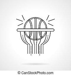 Basketball shot flat line vector icon