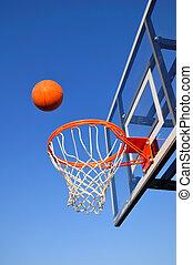 Basketball Shot Heading Toward the Hoop, Blue Sky