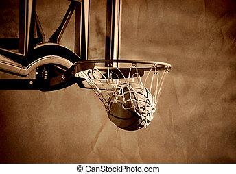 Basketball Shot - Action shot of basketball going through...