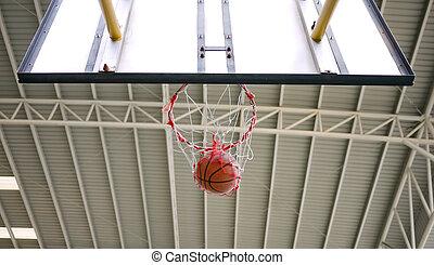 Basketball shot through the hoop