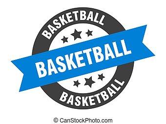 basketball sign. basketball blue-black round ribbon sticker