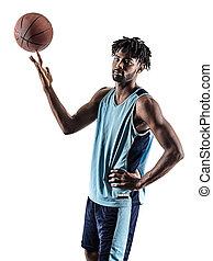 basketball, silhouette, freigestellt, spieler, schatten, mann