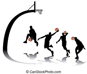 basketball silhouettes on white background