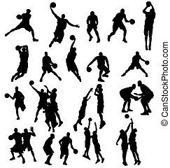 large set of basketball players silhouettes with high detail