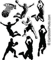 Basketball Silhouettes of Men - Male Basketball Players...