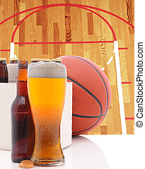 Basketball Six Pack and Glass of Beer and Court