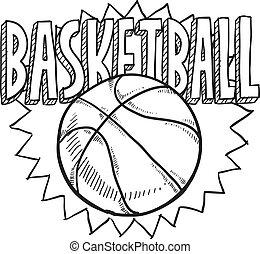 Basketball sketch - Doodle style basketball sports...