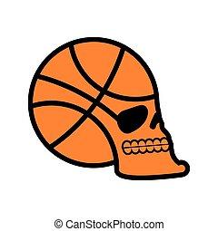 basketball skull. sport fans emblem. ball skeleton head. Symbol for game lover