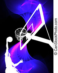Basketball Slam Dunk - A silhouette of a basketball player...