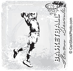 basketball slam dunk - basketball vector illustration for...
