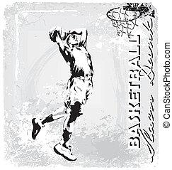 basketball slam dunk - basketball vector illustration for...