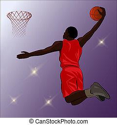 Basketball Slam Dunk - Illustration - A high jumping player...