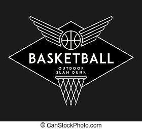 Basketball slam dunk white on black