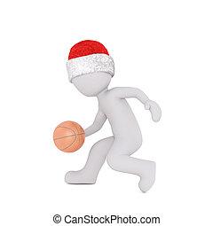 basketball spielen dribbeln weihnachtsmütze 3d modell...