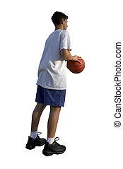 basketball-spieler, freigestellt, junger