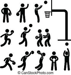 basketball spiller, folk, ikon, tegn