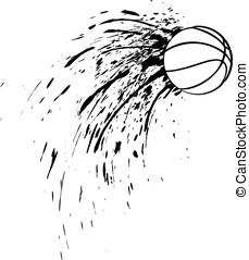 Basketball Splatter - Black and white vector illustration of...