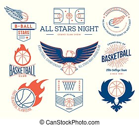 basketball sport badges colored