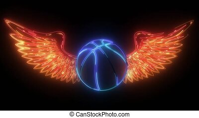 Basketball sport emblem with wings. video - Basketball sport...