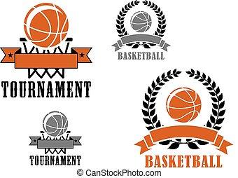 Basketball sport emblems or badges
