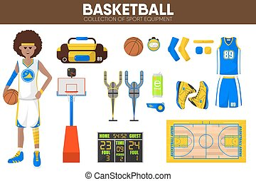 Basketball sport equipment game player garment accessory vector icons set