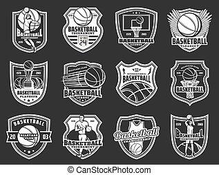 Basketball sport league team badge icons