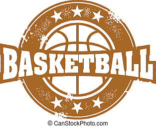 Basketball Sport Stamp - Vintage style basketball sport...