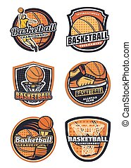 Basketball sport team vector badges