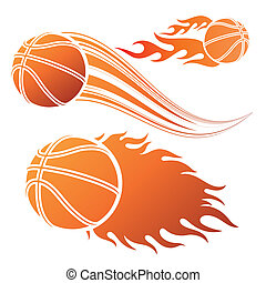 basketball sport - basketball design element and flames