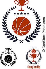 Basketball sporting emblems and symbols