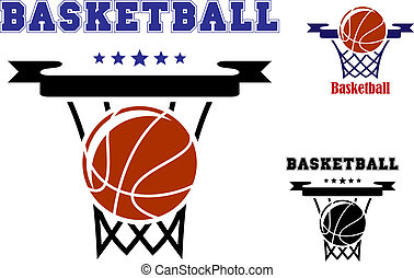 Basketball sports symbols with basket, ball and text with...