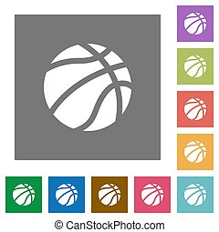 Basketball square flat icons