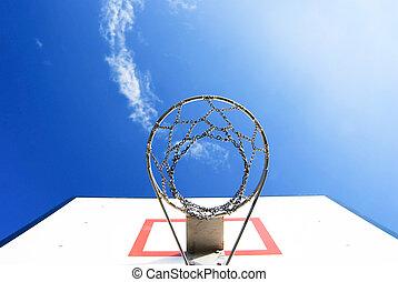 Basketball stand under blue sky