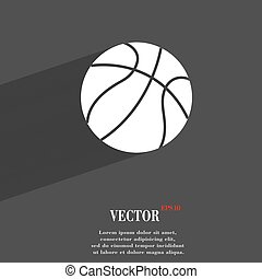 Basketball symbol Flat modern web design with long shadow and space for your text. Vector