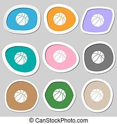 Basketball symbols. Multicolored paper stickers. Vector