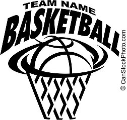 basketball team design with ball and net for school, college or league