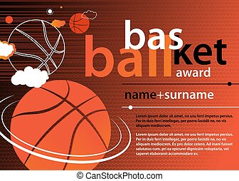Basketball Template Design of Certificate and Diploma. Vector Illustration.