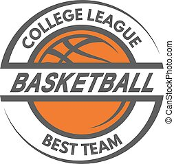 Basketball template. Logo, badge, emblem.