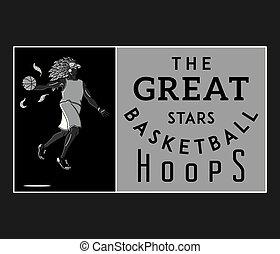 basketball the great stars white on black