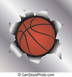 basketball thru metal sheet - illustration of a basketball...