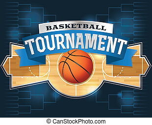 A vector illustration of a basketball tournament concept. Vector EPS 10 file available. EPS file contains transparencies and is layered. Fonts used: Rex Goblin