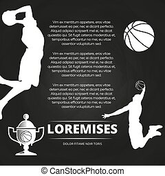 Basketball tournament background with athlete silhouettes,