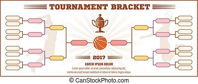 Basketball tournament bracket vector mockup