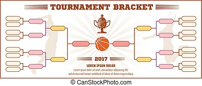 Basketball tournament bracket vector mockup
