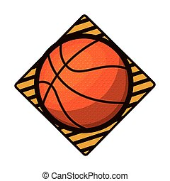 basketball tournament emblem with ball