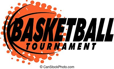 basketball tournament design with ball and graphic dots