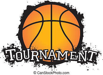 Basketball Tournament Vector - Grunge style basketball...