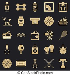 Basketball training icons set, simple style
